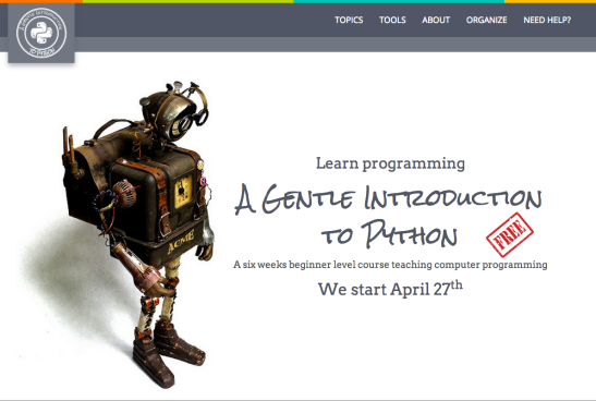 Screen shot of new course home page.